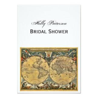 Antique World Map, White BG V Bridal Shower 13 Cm X 18 Cm Invitation Card