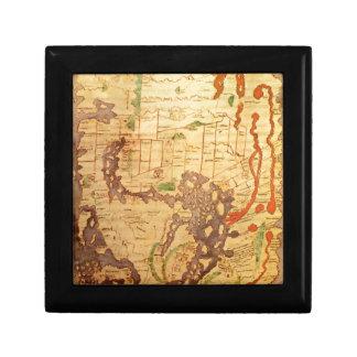 Antique world maps keepsake boxes