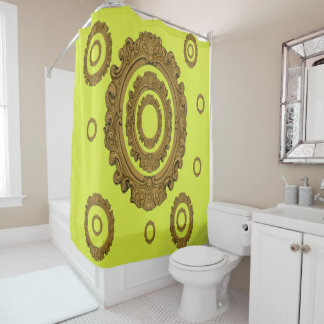 Antique yellow mirror shower curtain