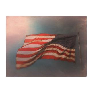 Antiqued American Flag Wood Print 24 x 18