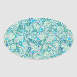 Antiqued Blue Paisley Oval Sticker
