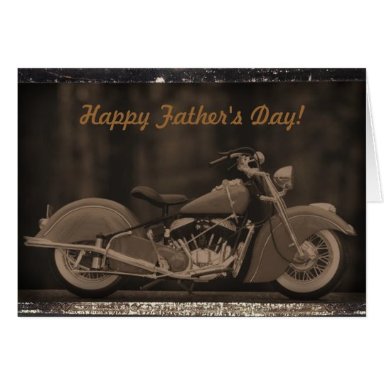 Antiqued Motorcycle Photo Card