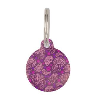 Antiqued Pink & Purple Paisley Pet Name Tag