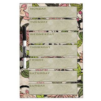 Antiqued Watercolor Blossoms Weekly Planner) Dry Erase Board