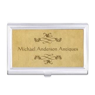 Antiques Dealer on Vintage Paper with Flourishes Business Card Holder