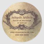 Antiquity Parchment Damask Promotional Round Sticker