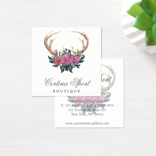 Antler and roses rustic chic business card