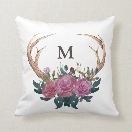 Antler deer monogram throw pillow