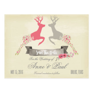 Antler Floral pink Save the Date Postcard
