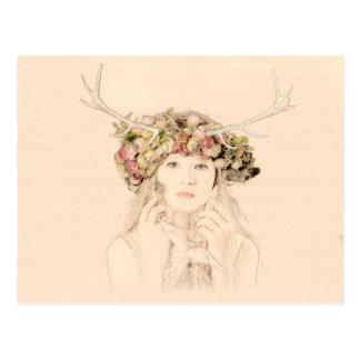 Antler Girl With Flowers Postcard