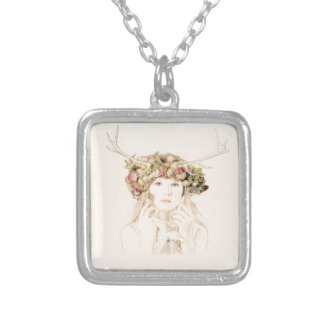 Antler Girl With Flowers Silver Plated Necklace