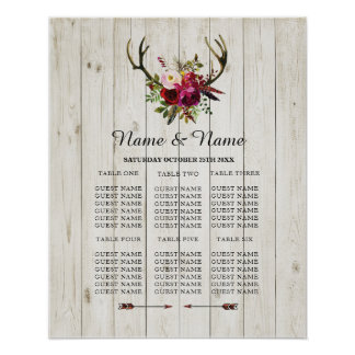Antler Stag Table Wedding Floral Poster Seating