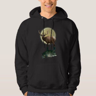 Antlered Wapiti Elk Wildlife Supporter Art Hoodie