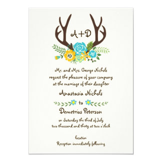Antlers and aqua flowers monogram woodland wedding 13 cm x 18 cm invitation card