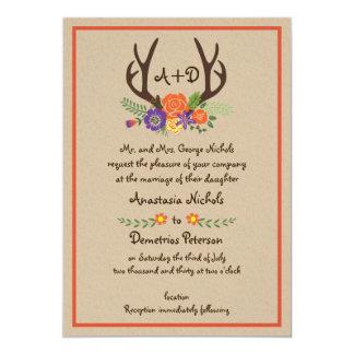 Antlers and flowers monogram kraft paper wedding 13 cm x 18 cm invitation card