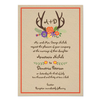 Antlers and flowers monogram kraft paper wedding card