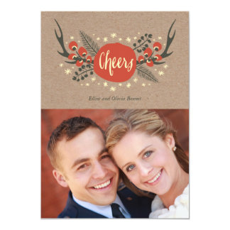Antlers and Pine Holiday Photo Card 13 Cm X 18 Cm Invitation Card