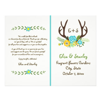 Antlers & aqua flowers monogram wedding program 21.5 cm x 28 cm flyer