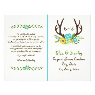 "Antlers & aqua flowers monogram wedding program 8.5"" x 11"" flyer"