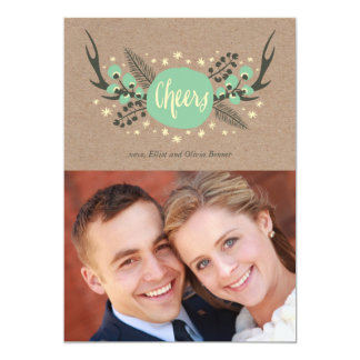 Antlers, Berries and Pine Holiday Photo Card 13 Cm X 18 Cm Invitation Card