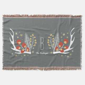 Antlers Berries and Pine | Throw Blanket