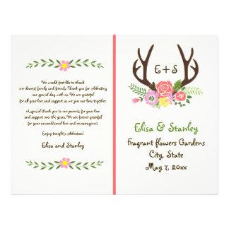 "Antlers & coral flowers monogram wedding program 8.5"" x 11"" flyer"