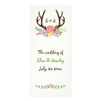 Antlers & coral, pink flowers wedding program rack card