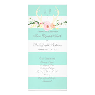 Antlers floral green and white stripes Program Rack Card