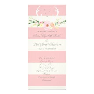 Antlers floral pink and beige stripes Program Personalised Rack Card