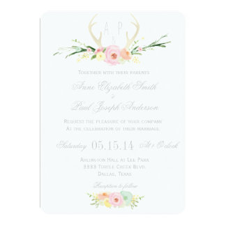 Antlers floral wedding invitation