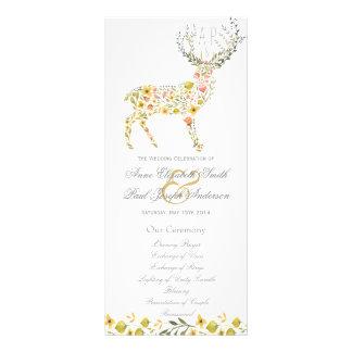 Antlers floral yellow Wedding Program Rack Card