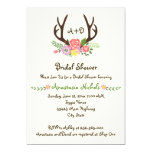 Antlers & flowers monogram wedding bridal shower 13 cm x 18 cm invitation card