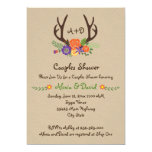 Antlers & flowers monogram wedding couples shower 13 cm x 18 cm invitation card