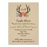 Antlers & flowers monogram wedding couples shower 13 cm x 18 cm invitation card