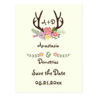 Antlers & flowers monogram wedding Save the Date Postcard