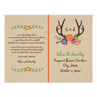 "Antlers & orange flowers monogram wedding program 8.5"" x 11"" flyer"