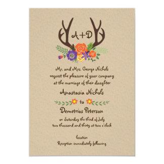 Antlers & orange flowers monogram woodland wedding 13 cm x 18 cm invitation card