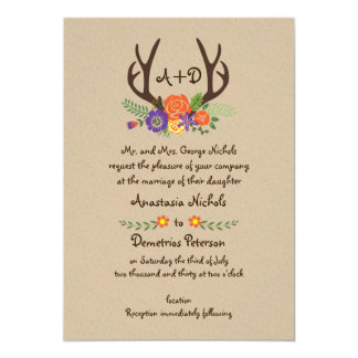 Antlers & orange flowers monogram woodland wedding card