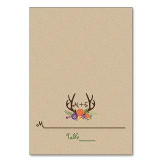 Antlers & orange purple flowers wedding place card