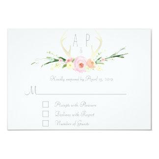 Antlers pink floral RSVP Card 2 9 Cm X 13 Cm Invitation Card