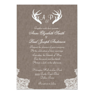 Antlers Rustic Wedding Invitation Fabric and Lace