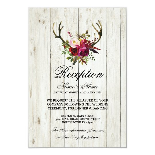 Antlers Rustic Wedding Reception Cards Wood