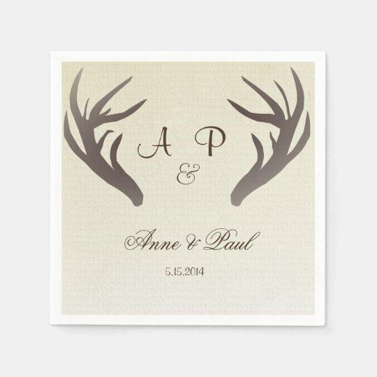 Antlers Wedding Napkin Ombre Beige Paper Napkin