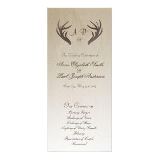 Antlers Wedding Program Ombre Brown Customized Rack Card