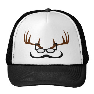 Antlers with Glasses and Mustache Mesh Hats