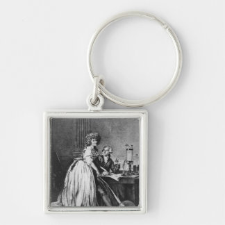Antoine Laurent Lavoisier  and his wife Silver-Colored Square Key Ring