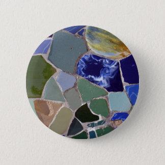 Antoni Gaudi Blue Mosaics 6 Cm Round Badge
