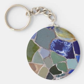 Antoni Gaudi Blue Mosaics Basic Round Button Key Ring