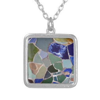 Antoni Gaudi Blue Mosaics Silver Plated Necklace