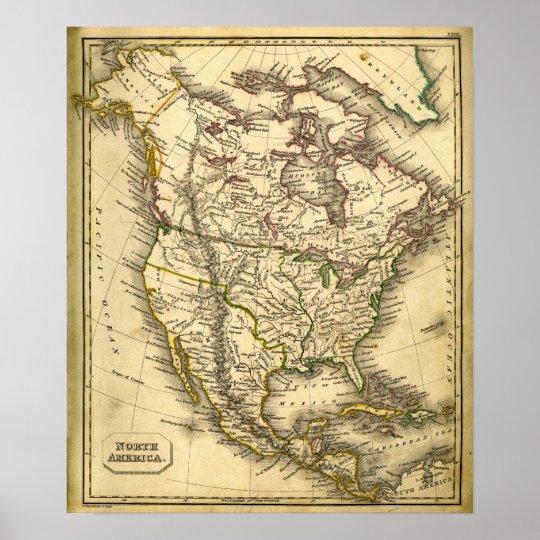 Antquie Map of North America Poster